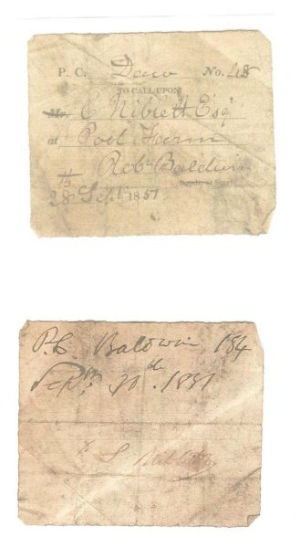 Visiting Tickets used by Police Constables when  on patrol to prove that they had patrolled a particular area. (Gloucestershire Police Archives URN 963-4)