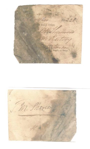 Visiting Tickets used by Police Constables  when  on patrol to prove that they had patrolled a particular area. (Gloucestershire Police Archives URN 963-6)