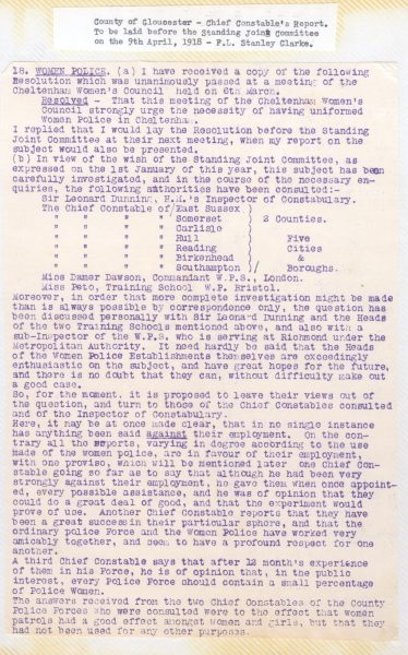 Chief Constables Stanley Clarke's report to Standing Joint Committee re recruitment of Women Police. (Gloucestershire Police Archives URN  101-2)
