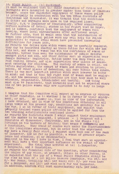 Chief Constables Stanley Clarke's report to Standing Joint Committee re recruitment of Women Police. (Gloucestershire Police Archives URN 101-3)