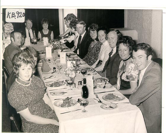 Cheltenham Sub/Division Dinner 1970. Officers in photo Police Constables Roger Barnett, Andrew Barrow,  Bob Plowright,   Ted Heath,  Dave Read and Colin Hendry  with their wives. (Gloucestershire Police Archives URN 1137)