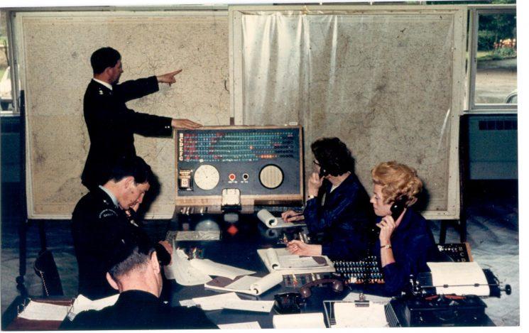 Headquarters Information Room Cheltenham showing Inspector Reg Johnson 1960. (Gloucestershire Police Archive URN 1171)
