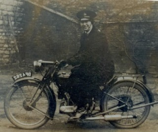 Woman Police Constable Rosa Rouse. the first woman police officer to ride a motor cycle on duty. (Gloucestershire Police Archives URN 1260)