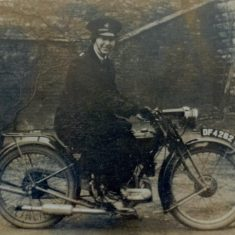 Woman Police Constable Rosa Rouse the first woman police officer to ride a motor cycle on duty. (Gloucestershire Police Archives URN 1260)