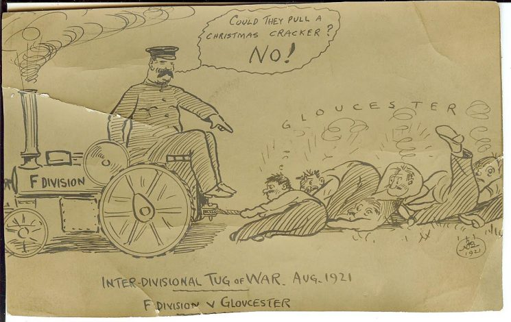 Copy of cartoon Gloucestershire Police sports showing tug-o-war. F Division v G Division. 1921. (Gloucestershire Police Archives URN 1330)