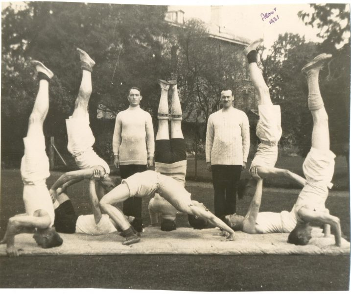 Police gymnastics team. Standing on right - Police Constable John E. Squires.(Gloucestershire Police Archives URN 1337)