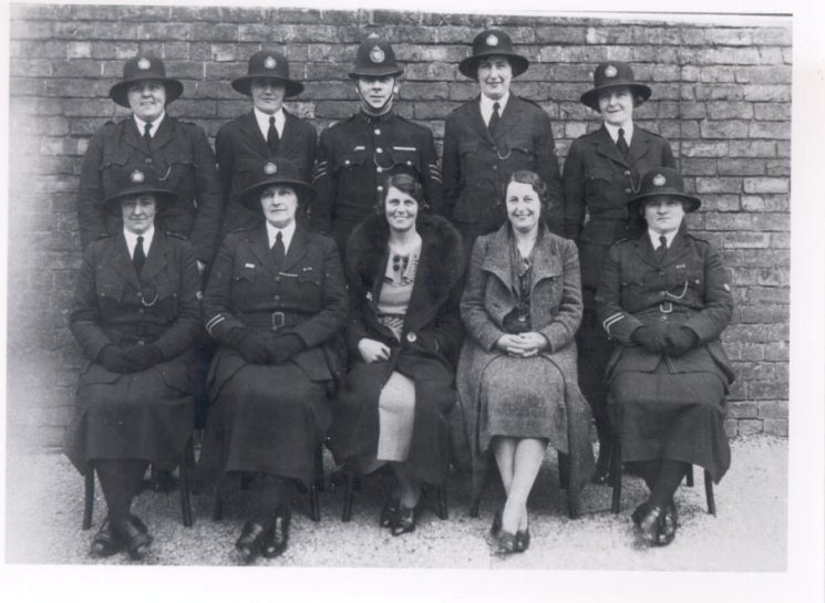 Women police 1938. Back row: Miss Millichip, Miss Gould, Police Sergeant Midwinter, Miss Rouse, Miss Bennett, Front row: Miss Lodge, Miss Sandover, Miss Ford, Miss Spooner, Miss Tonra. (Gloucestershire Police Archives URN 136)