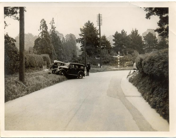 Road traffic accident between two cars at Sandpits junction, Dursley. (Gloucestershire Police Archives URN 1375)