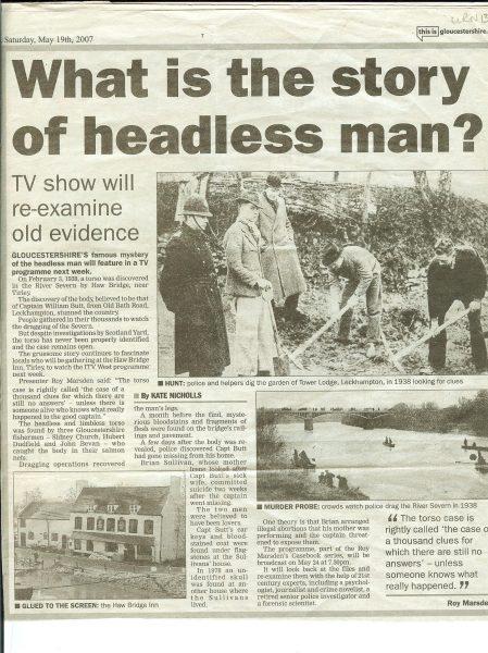 Haw Bridge Murder. (Gloucestershire Police Archives URN 138-3)