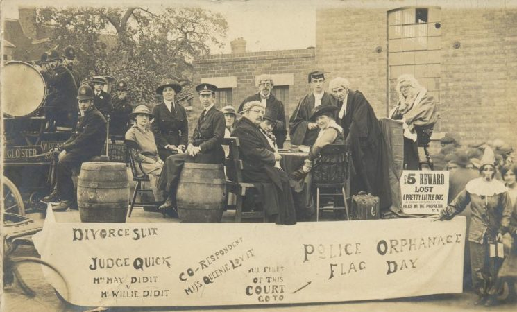 A light-hearted presentation of a divorce court proceeding.   Photo shows unknown police officers including women and a brass band - possibly police band. (Gloucestershire Police Archives URN 1397)
