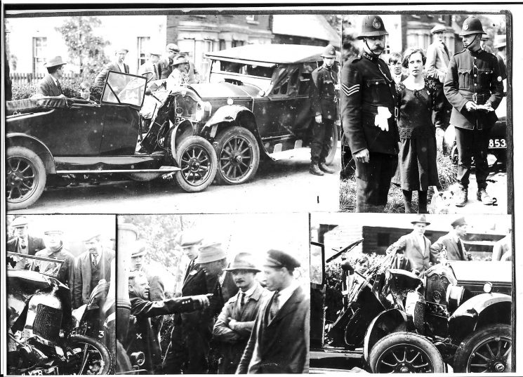Road accident at Norton in May 1926 showing, at top right, Police Constable 126 Tom Pittaway (father of Derek & Pat Pittaway, later members of the Constabulary) and  Police Sergeant No 364 Wilkes. (Gloucestershire Police Archives URN 1465)