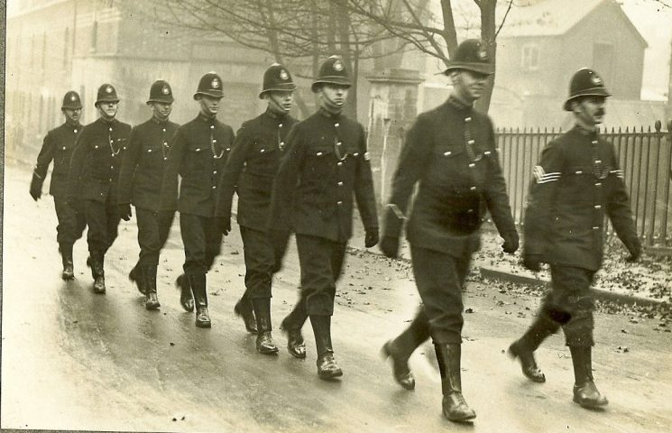 Police officers marching believed to be on duty for the General Strike, location not know.  Police Constable 126 Tom Pittaway third from the right. (Gloucestershire Police Archives URN 1469) |  Daily Mirror