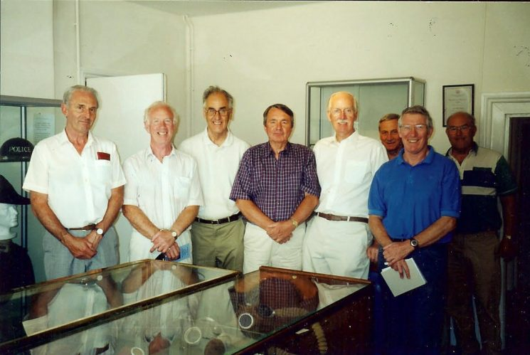 Force Archive Group on a visit to Tetbury Police Museum. Left to right  Jim Taylor; Alan Bobs; David Smeeton; Graham Murdock; Bob Parker; Geoff Sindrey. The two in the background are museum staff volunteers. (Gloucestershire Police Archive URN 1609 )