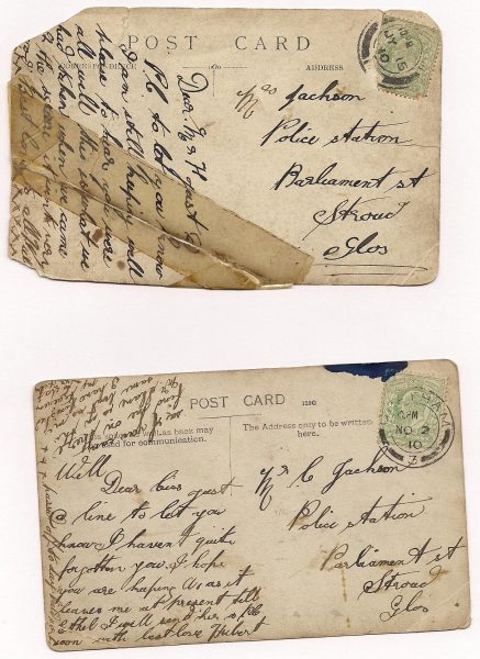 Two postcards sent to Mr (Mrs?) Jackson, Police Station, Parliament Street, Stroud, May & November 1910 suggesting that there was a police station there before the  one erected in the 1960s/70s. (Gloucestershire Police Archive URN 1629-4)