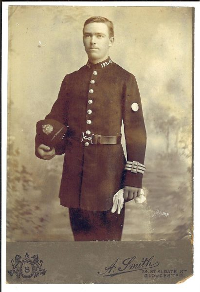 Police Constable 171 Charles Davis joined circa 1904 died 1918 of influenza & pneumonia. (Gloucestershire Police Archives URN 1656)