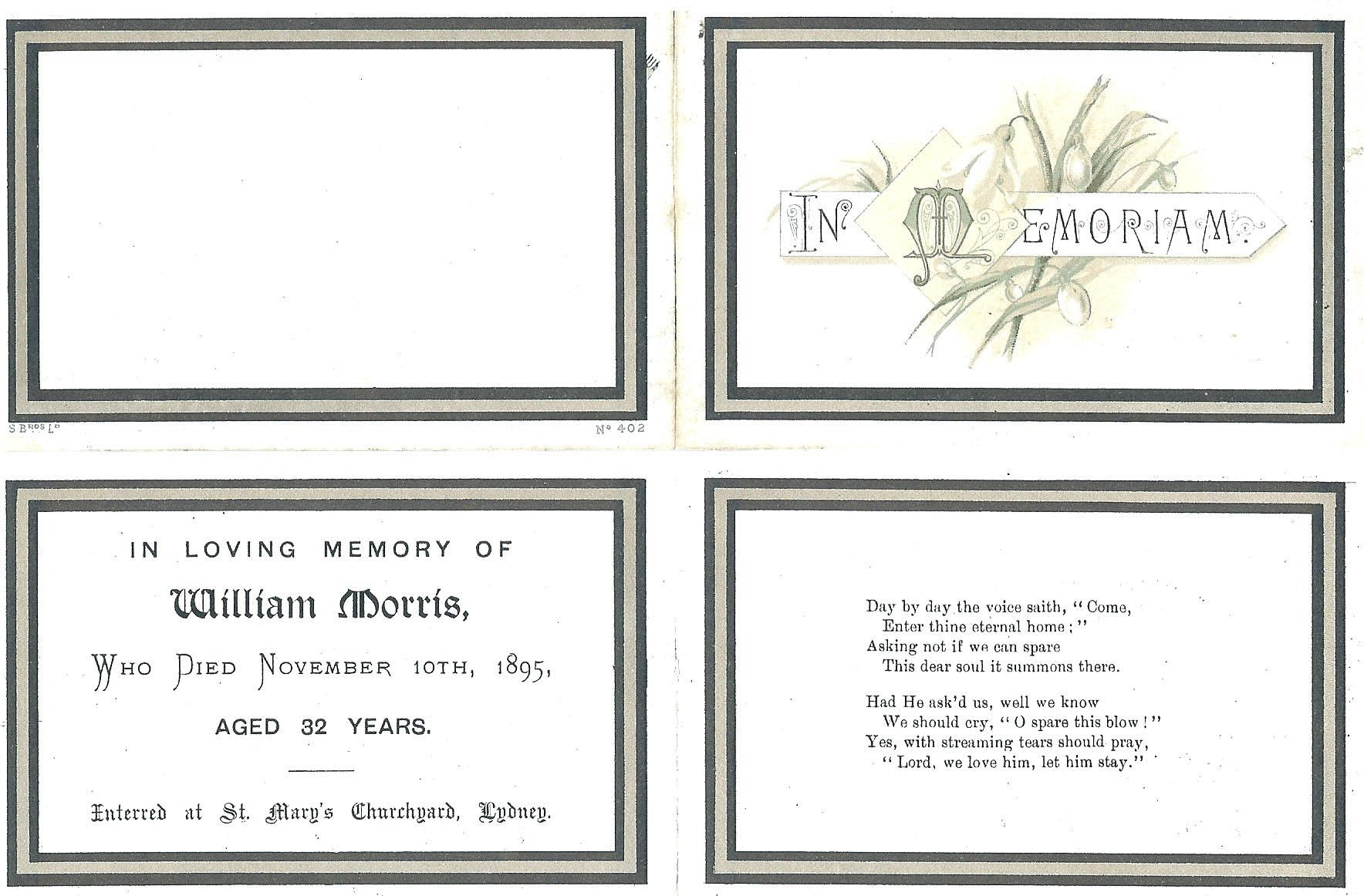 Memorial/funeral card for Police Sergeant William Morris, murdered in the Forest of Dean, buried at St Mary's Church, Lydney. (Gloucestershire Police Archive URN 1706)