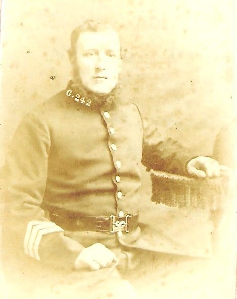 William Hinder Number G 242, joined 4.6.1860 aged twenty two 5' 10'' previously a labourer from Newnton, Wilts. Promoted sergeant 1.11.71, superannuated 15.10.1879 on one shilling and four pence per day.(Gloucestershire Police Archives URN 1707)