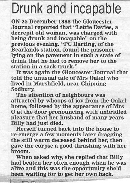 Newpaper article recounting incidents in 1888 and referring to the arrest of a drunk woman by Police Constable Barting (name not found in list of officers 1839 - 1919) of Bearlands Gloucester, reported in the Gloucester Journal. (Gloucestershire Police Archives URN 1713)