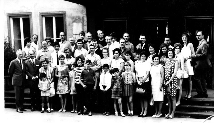 Gloucestershire IPA, International Police Association, visit to Trier, Germany. Including:  E and D Turner, Ralph and Mary Wilkins (plus children) - back row fourth  from right J and M Turner Richard and P Williams - second row fifth from left Mr and Mrs J Griffin Mr and Mrs Ron Hall - third row fifth from right Gordon Smith - back row fifth from right. (Gloucestershire Police Archives URN 1745)