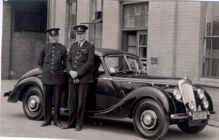 New Riley Motor Car with Police Constables Cyril Milner and Inspector H.J. Greenall, Rileys were first used in 1946.(Gloucestershire Police Archives URN 175)