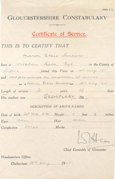 Woman Police Constable Marion Elsie Sandover Certificate of Service (Gloucestershire Police Archives URN 185)
