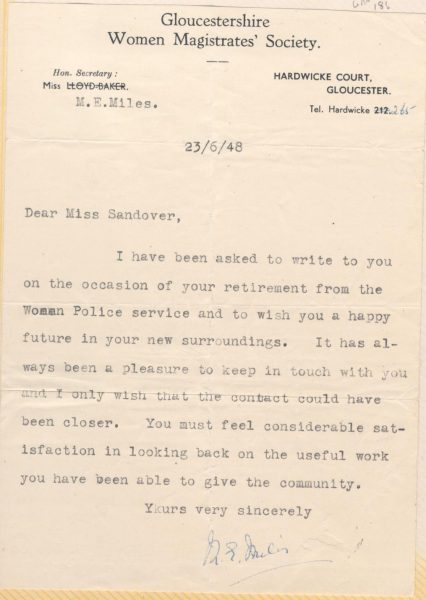 Letter from Miss M.E. Miles Honorary  Secretary Gloucestershire Women Magistrates Society to Woman Police Constable Marion Elsie Sandover on her retirement. (Gloucestershire Police Archives URN 186)