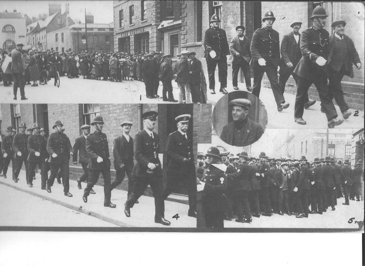 Gloucester canal and bargemen going to prison for various offences - Picketing, Obstructing the Police etc in the General Strike 22 May 1926.  Led by Deputy Chief Constable Hopkins, Inspector Williams from the Police Station at Bearlands to Gloucester Prison. (Gloucestershire Police Archives URN 1874)