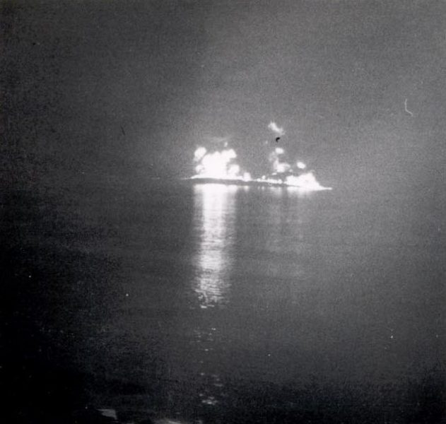 Tanker explosion on the River Severn. On 25 October 1960 two tankers collided in heavy fog near to Sharpness on the River Severn. They were then caught by the tide, lost control, and smashed into one of the bridge's pillars. The bridge partially collapsed and one of the boats, carrying petrol, caught fire and exploded. The other vessel was carrying a cargo of  oil which ignited and burnt for several hours. Five men were killed in the disaster. (Gloucestershire Police Archives URN 190)