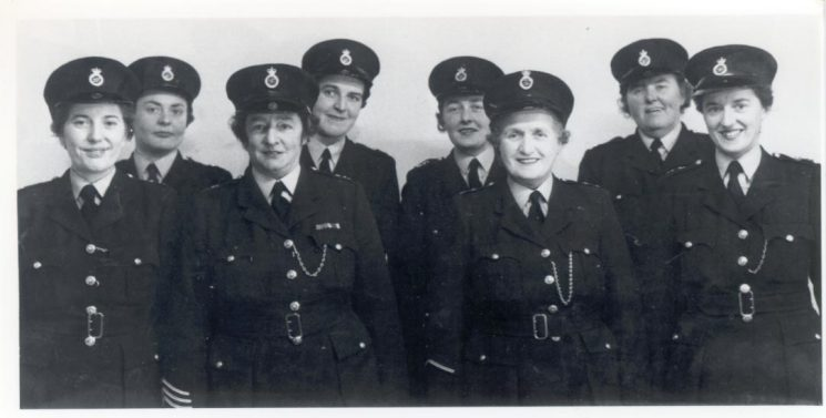 Group photo of women police officers. Includes Jean Marsh, Olive Hinton, Mrs Herbert, Doreen Raper, Mrs Yeoman, Mrs Brimble, Miss Reed. (Gloucestershire Police Archives URN 191)