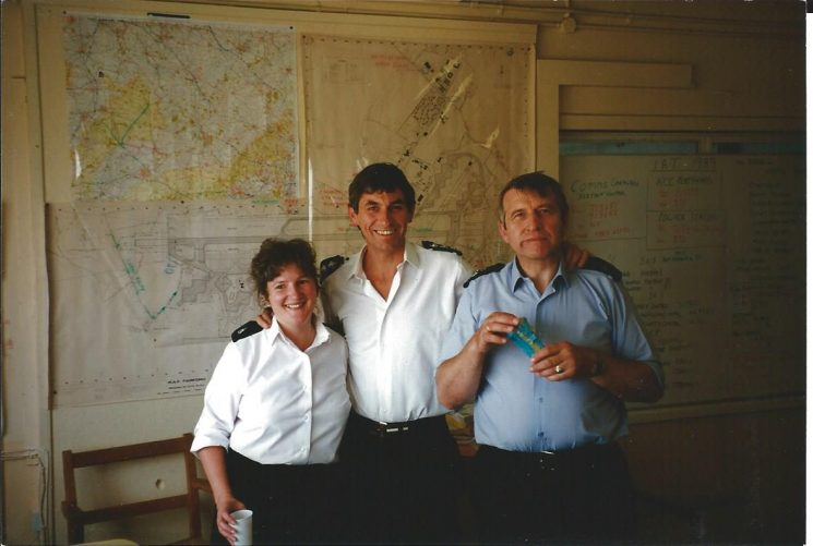 Control Room Staff at the Operations Control Room, RAF South Cerney at the time of the International Air Tattoo 1989. Lesley Hawling; Superintendent John Parsons; Police Sergeant Ben Weager. (Gloucestershire Police Archives 1981)