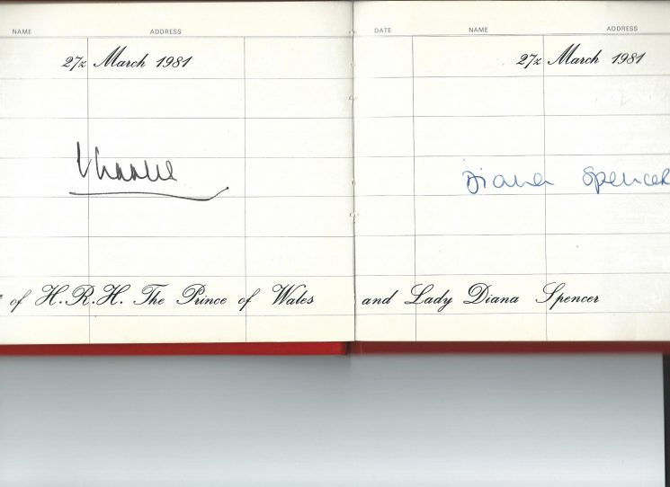 Visitors Book for Police Headquarters. Holland House, Cheltenham recording the visit and the signatures of HRH Charles Prince of Wales & Lady Diana Spencer on 27th March 1981. (Gloucestershire Police Archives URN 2025)