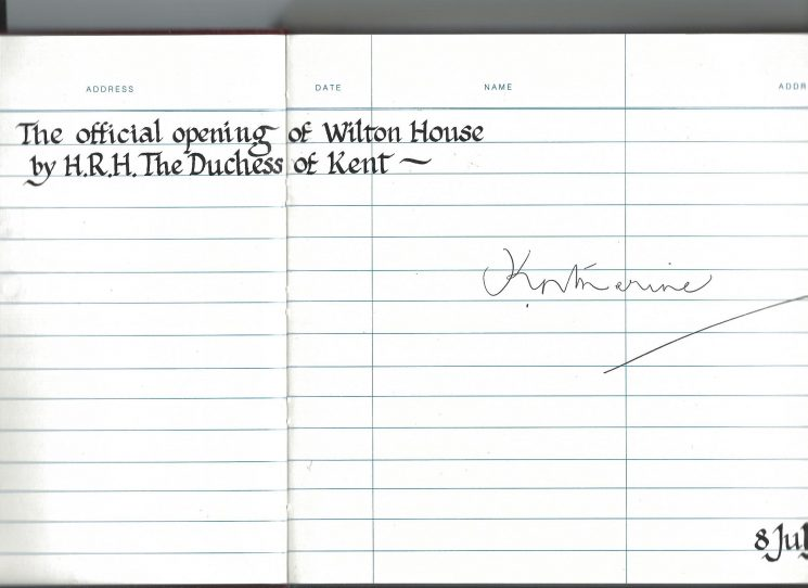 Visitors Book recording the visit of and the official opening of Wilton House (re-named Holland House in April 2016) by HRH The Duchess of Kent on 8th July 1992. (Gloucestershire Police Archives URN 2026 )