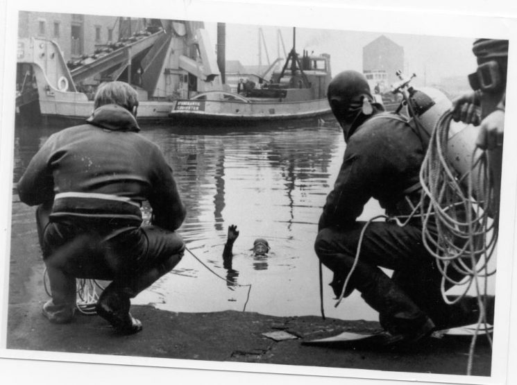 Three divers training at Gloucester Docks 1966. (Gloucestershire Police Archives URN 219)