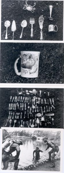 Property recovered from Pittville Lake, Cheltenham  by diving squad. (Gloucestershire Police Archives URN 254)