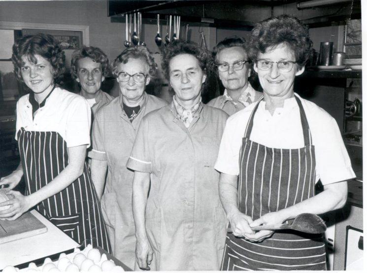 Headquarters Canteen staff; Christine Shill; Eileen Hazel; Gwen Tarren; Dorothy Keenan; Jesse Scarrett; Nan Powell 1980. (Gloucestershire Police Archive URN 282-2)