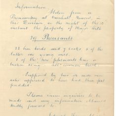 Letter from Deputy Chief Constable Edward Thomas Chipp  re theft of pheasants at Oxenhall, Newent. 11/12/1891 .(Gloucestershire Police Archive URN 35)