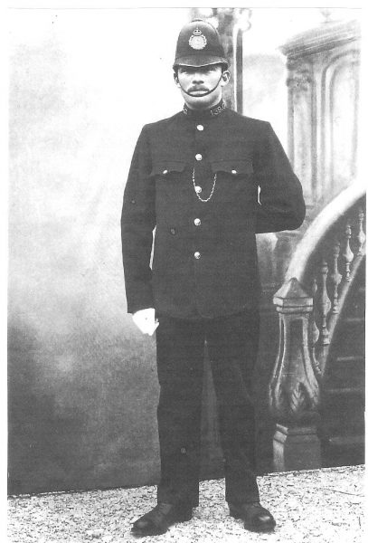 Police Constable 139 Albert Ford. Joined force 4th May 1914 and posted to Fairford in the same year specifically to guard the church windows against the suffragettes.  Enlisted in the Forces 5th May 1915. (Gloucestershire Police Archives URN 418)