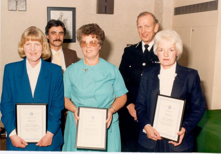 Presentation of Civilian Long Service Awards. Left to right Miss P. Tracey (Headquarters), Mr Colin Hay (Chair of Police Committee), Mrs M. Parker ( Gloucester), Chief Constable Soper, Mrs P. Rees (Cirencester). (Gloucestershire Police Archive URN 443)