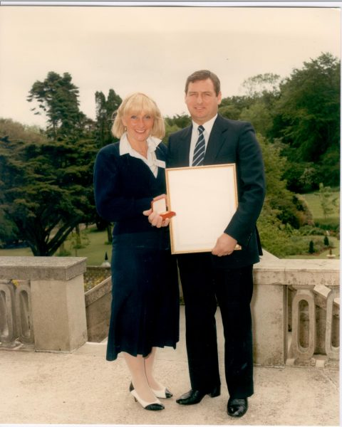 Mr and Mrs Richard Whittaker following his receipt of the Provincal Police Award - Gold medal in June 1986. Mr Whittaker received the award for having tackled an armed man who had robbed the Promenade Post Office and detained him prior to the arrival of the Police. (Gloucestershire Police Archive URN 476)