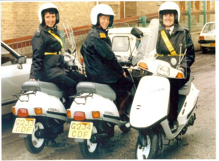 Gloucester Traffic Wardens issued with mopeds to patrol outskirts of the City. Left to right Liz Harris, Lynne Higgs, Jill Peart. (Gloucestershire Police Archive URN 530 )
