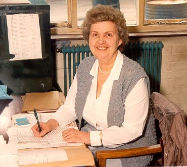 Mrs Ann Durn civilian clerk at Gloucester Police workshops Cole Avenue 1980s. (Gloucestershire Police Archive URN 614)