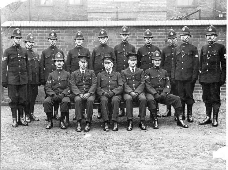 Group of officers Tom Pittaway second right standing ( pre war - believed to be early 1930s.) (Gloucestershire Police Archives URN 634)