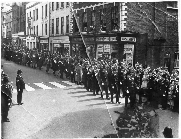 Civic parade Westgate Street  Gloucester 1950s. Led by Superintendent W.E. Wakefield. (Gloucestershire Police Archive URN 635)