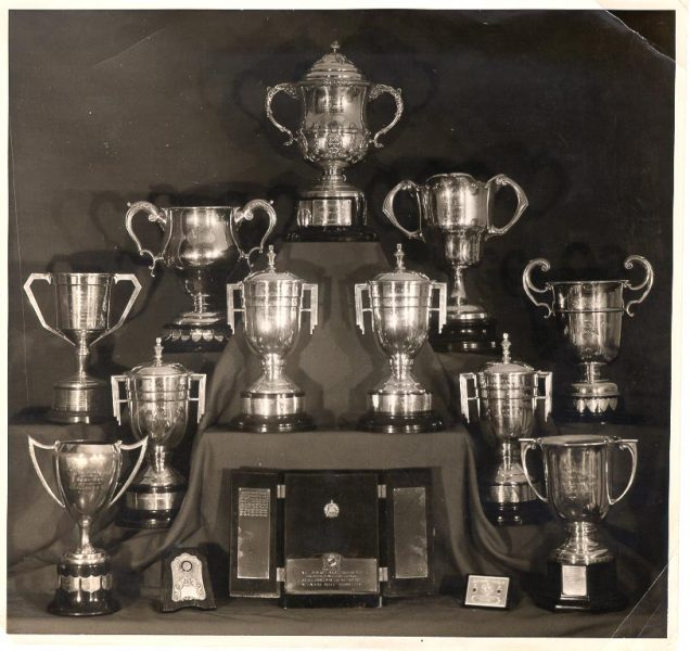 Sporting Trophies awarded to Gloucestershire Police in athletics and Rifle Shooting. (Gloucestershire Police Archives URN 638)