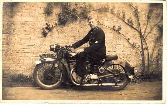 Police Constable Jack Turner on his Rudge Whitworth Special motor cycle at Fairford Police Station in 1941.   The machine was his own personal property. (Gloucestershire Police Archives URN 676)