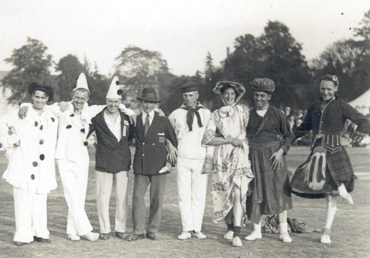 Gloucestershire Constabulary Sports day 1933 showing group of officers including W. Hart in fancy dress. (Gloucestershire Police Archives URN 899)
