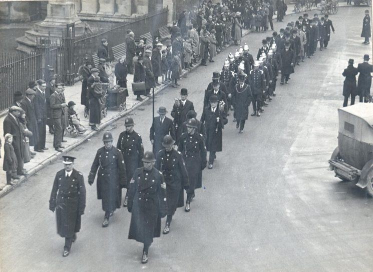 Jubilee Parade at Cirencester 1934. Police Constable Foster in the police contingent at the back on the right. (Gloucestershire Police Archives URN 910)