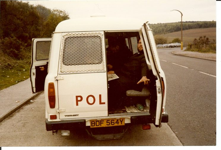 Gloucestershire Police Personnel Carrier going to Miners' Strike 1984. (Gloucestershire Police Archives URN 988)