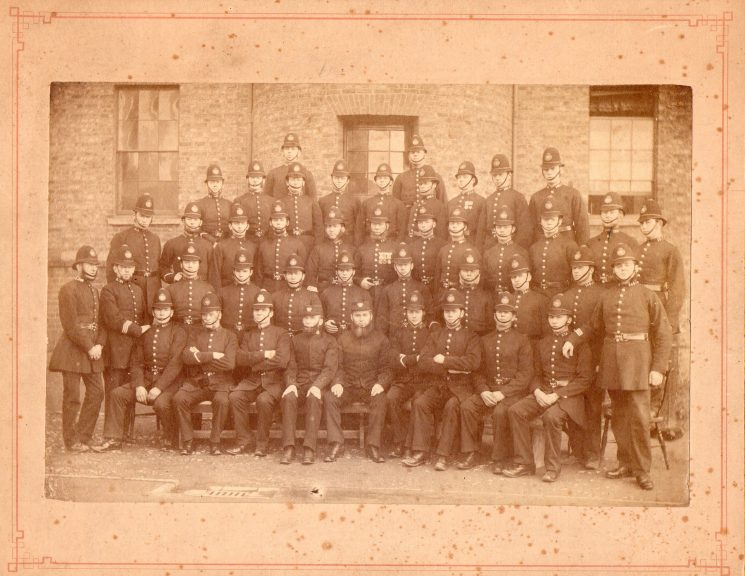 Early Gloucestershire Constabulary with Supt MacRae seated. He joined 1860 resigned and rejoined 1862 then retired 1898. (Gloucestershire Police Archives  URN 1427)