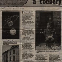 The 'Great Jewel Robbery' as reported in the Gloucester Journal May 1880. Describes how Detective Sergeant Charles Critchley investigated the theft of jewellery from Drew's Temperance Hotel, Clarence Street Gloucester (Gloucestershire Police Archives  URN 1593)